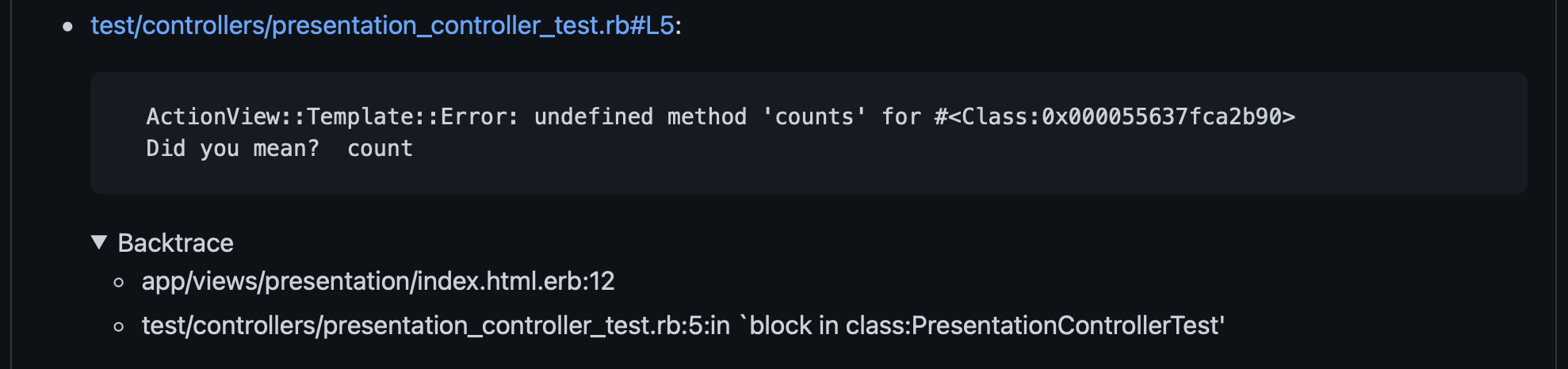 Screenshot of test backtrace included in comment on Github pull request.